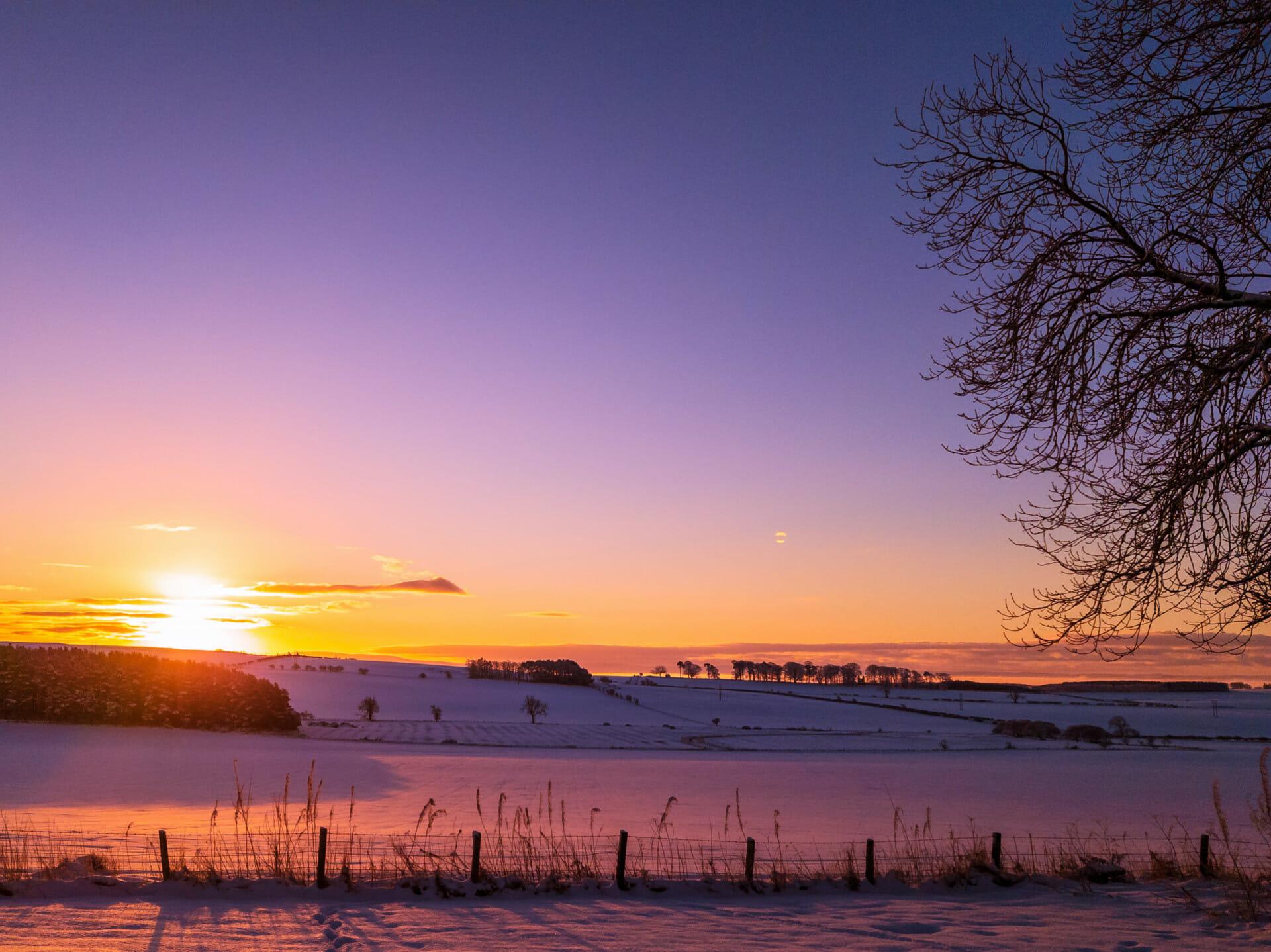Winter sun shining on snowy landscape.