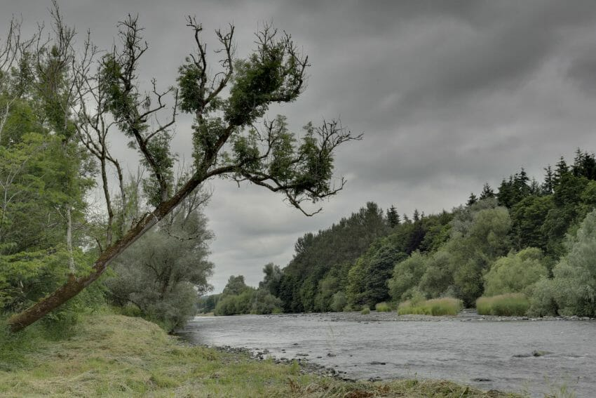 cloudy day on a river